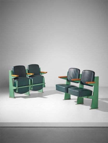 Pair of two-seater lecture hall armchairs, designed for the Faculté de Lettres, Université de Besançon