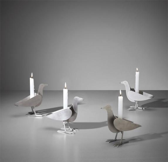 Set of four 'Oiseau d'Argent' candlesticks
