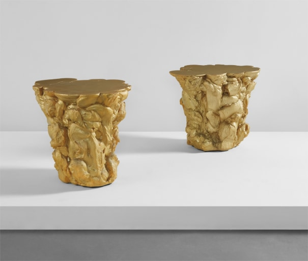 "Pair of ""Gold Rubber"" side tables"