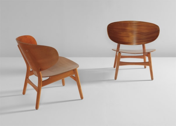 """Two """"Shell"""" chairs, model no. FH1936"""