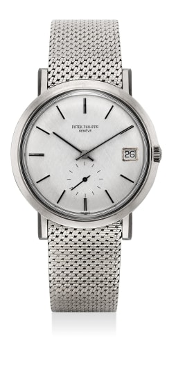 A rare and very fine white gold wristwatch with date and Gay Frères mesh bracelet