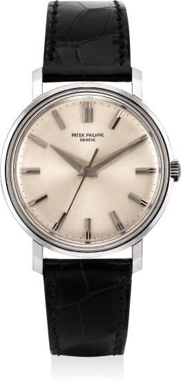 A very fine, elegant and extremely rare white gold wristwatch with center seconds