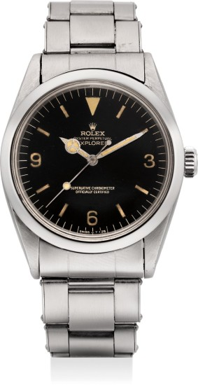 A rare and fine stainless steel wristwatch with black lacquer dial and bracelet