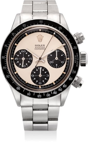 """A very rare and highly attractive stainless steel chronograph wristwatch with """"Paul Newman Panda"""" dial and bracelet"""
