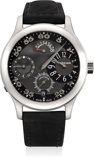 A very fine and unique palladium regulator-style wristwatch with power reserve, 24-hours and date
