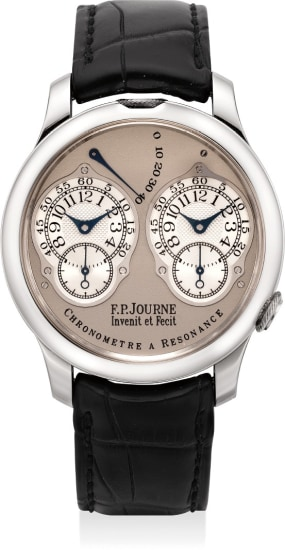A rare and very fine platinum dual time wristwatch with double escapement