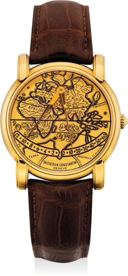 A fine and unusual yellow gold wristwatch with retrograde hands, made to commemorate the 400th anniversary of the death of Gerardus Mercator