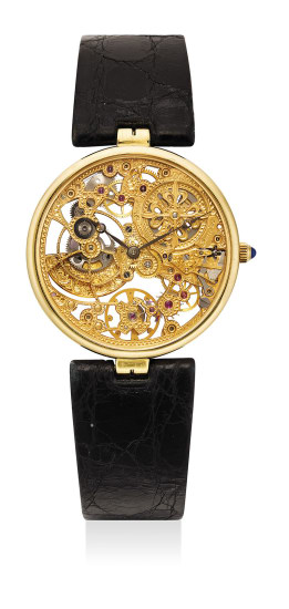 A very rare and attractive yellow gold skeletonized wristwatch