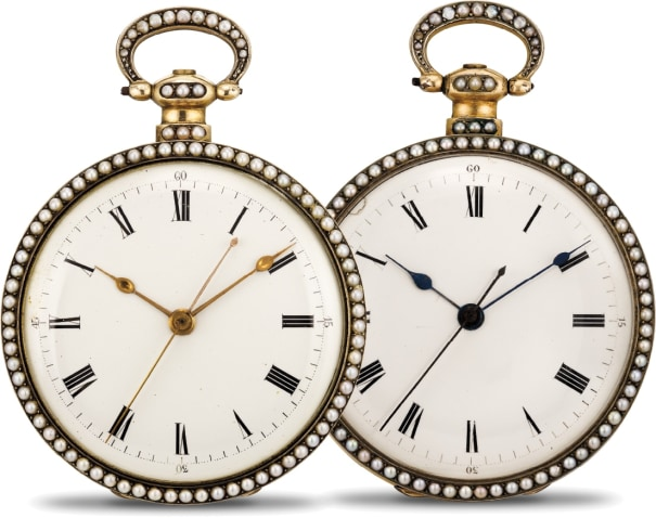 A very rare, exceptionally fine and attractive pair of silver gilt, enamel and pearl-set mirror-image open face center seconds duplex watches with presentation box and winding keys, made for the Chinese market
