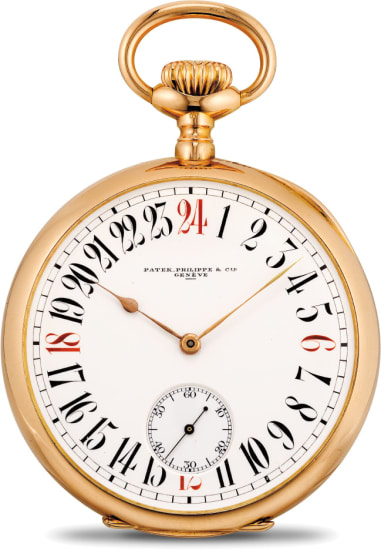 A rare and very fine pink gold openface pocket watch with 24-hour dial retailed by Gondolo & Labouriau Relojoerios Rio de Janiero
