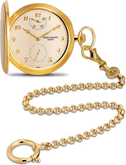 A rare and fine yellow gold hunter cased watch with power reserve, Breguet numerals and 18K yellow gold Patek Philippe watch chain
