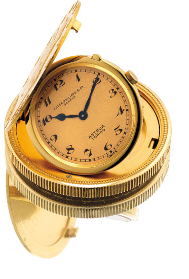 An early and rare yellow gold twenty dollar coin watch with Breguet numeral and retailed by Astrua Torino