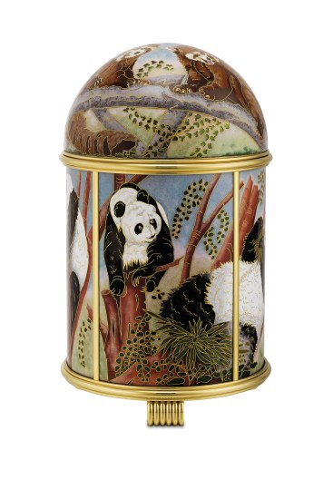"An extremely fine and unique gilt brass solar power dome clock with cloisonné enamel scene ""Pandas"" signed by France Tille with fitted presentation box"