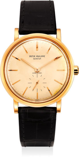 An extremely fine and very rare pink gold automatic wristwatch retailed by Gobbi, Milano