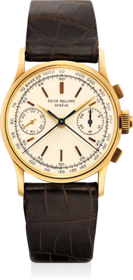 An extremely fine, rare and exceptionally well preserved yellow gold split second chronograph wristwatch