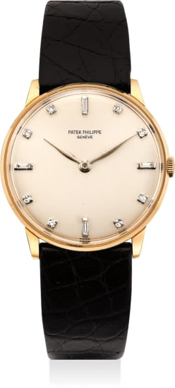 A very fine and extremely rare pink gold wristwatch with diamond-set numerals dial