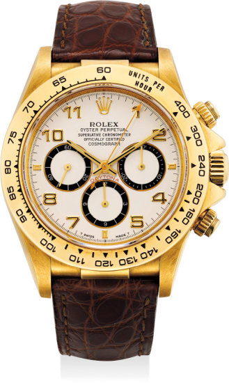A rare and very fine yellow gold chronograph wristwatch