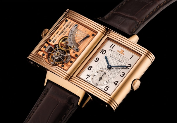A very fine and rare pink gold dual-dial rectangular-shaped reversible wristwatch with power reserve indication, tourbillon regulator, Certificate and box. Number 109 of a 500 pieces limited edition