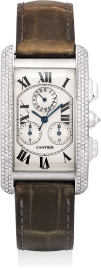 An attractive white gold and diamond-set chronograph wristwatch with date