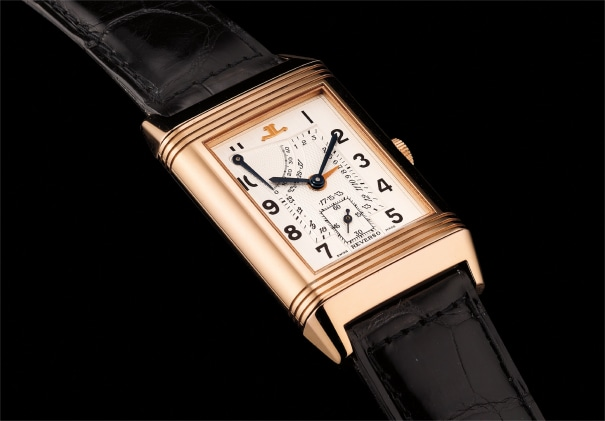 A fine and very rare pink gold rectangular-shaped reversible wristwatch with date, power reserve, Certificate and box. Number 91 of a 500 pieces limited edition.