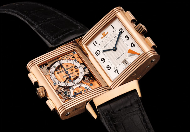 A fine and very rare pink gold dual-dial rectangular-shaped reversible chronograph wristwatch with date, Certificate and box. Number 92 of a 500 pieces limited edition