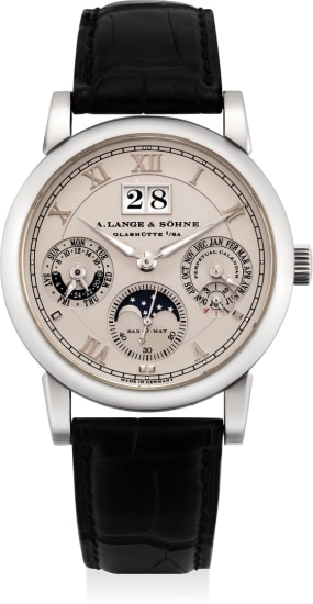 A very fine, rare and attractive platinum automatic perpetual calendar wristwatch with moon phases, leap year cycle indication, day/night indication, Garantie and winding box
