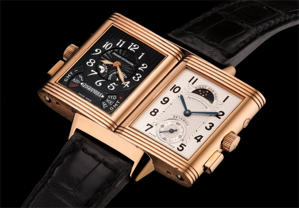 A fine and very rare pink gold rectangular-shaped dual dial reversible dual time wristwatch with day/night indication, Certificat and box. Number 400 of a 500 pieces limited edition
