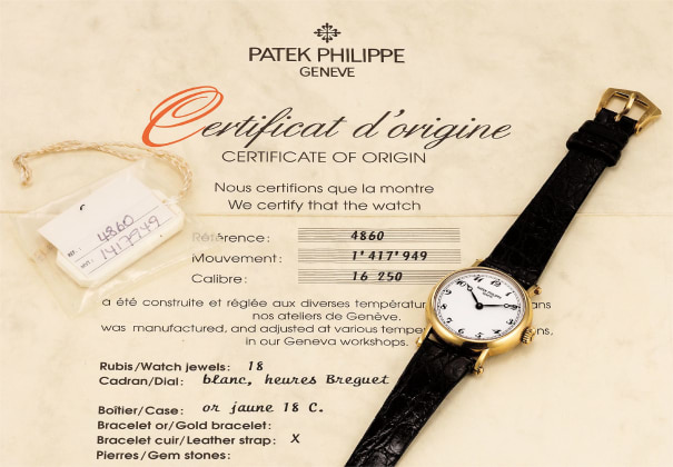 A fine yellow gold lady's wristwatch with porcelain dial, Breguet numerals and Certificate