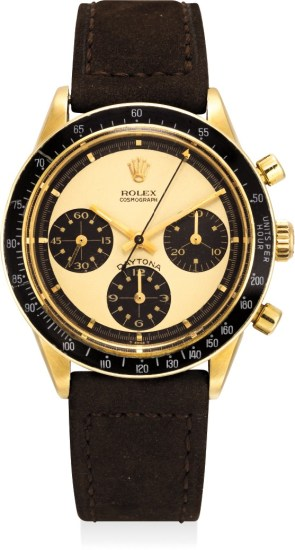 """An important, very rare and extremely attractive 14K yellow gold chronograph wristwatch with """"Paul Newman"""" dial"""