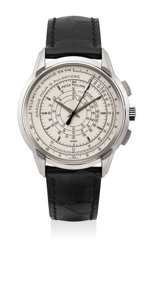"""An extremely attractive limited edition white gold """"Multi-Scale"""" chronograph wristwatch made to commemorate the 175th anniversary of Patek Philippe"""