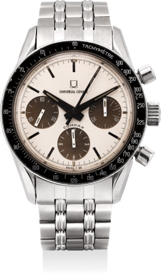 A rare and highly attractive stainless steel chronograph wristwatch with tropical Panda dial and Gay Frères bracelet