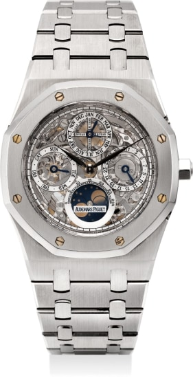 A rare and very fine stainless steel automatic perpetual calendar skeletonized wristwatch with moon phases, bracelet, Garantie and box