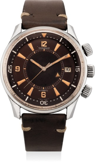 A fine and very rare automatic diver's alarm wristwatch with center seconds, date and tropical dial