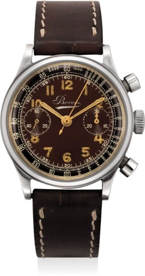 A very attractive and rare stainless steel mono-rattrapante chronograph wristwatch with tropical dial