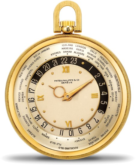 A rare and highly attractive open face world-time pocket watch with presentation box and original certificate of origin