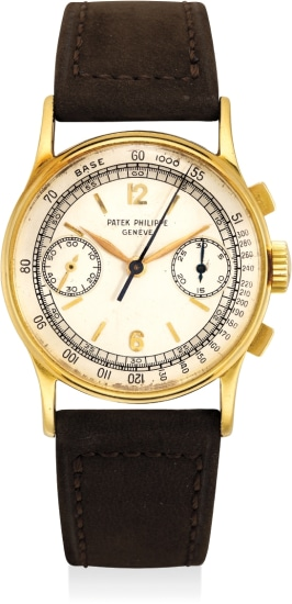 A rare and fine yellow gold chronograph wristwatch with two-tone silver dial, tachymeter scale and original Certificate of Origin
