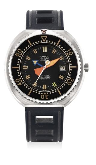 An extremely rare and attractive stainless steel electronic diver's prototype wristwatch with date and Bakelite bezel