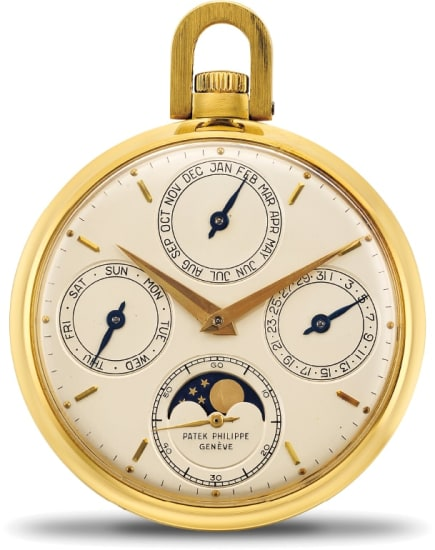 A rare and fine yellow gold open face perpetual calendar watch with moonphase