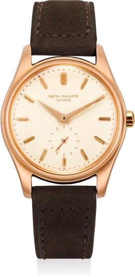 An extremely fine, very rare and highly attractive pink gold automatic wristwatch with enamel dial