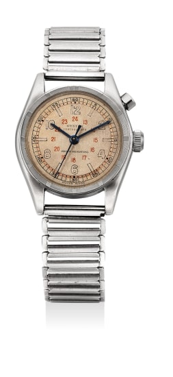 An extremely rare and early chronograph wristwatch with two-tone dial and bracelet