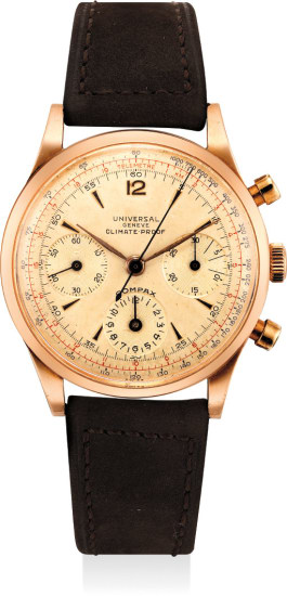 A fine and very rare pink gold chronograph wristwatch with multi-scale dial