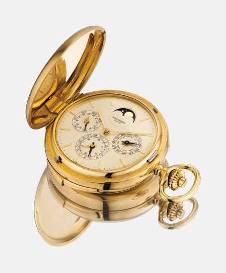 An extremely rare and highly attractive yellow gold  hunter case minute repeating perpetual calendar pocketwatch with moonphase and 24-hour indication