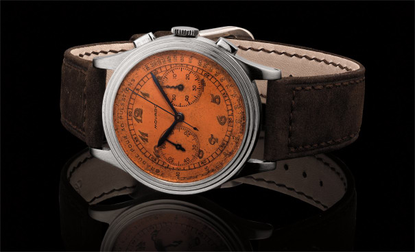 A fine and extremely attractive stainless steel chronograph wristwatch with tropical dial, pulsometer scale and Breguet numerals