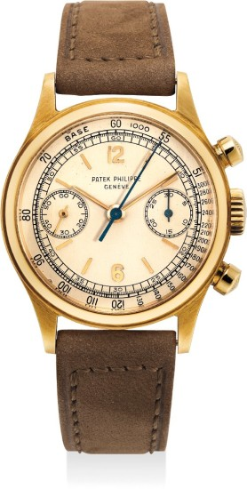 A very fine, rare and extremely attractive yellow gold chronograph wristwatch with screw back