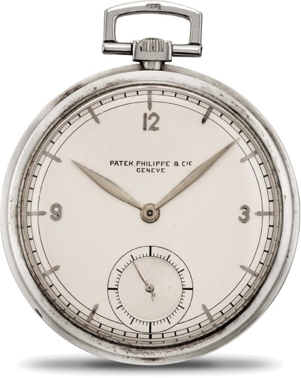 An attractive white gold open face pocketwatch