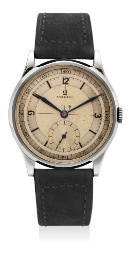 A fine and extremely attractive stainless steel wristwatch with two-tone sector dial