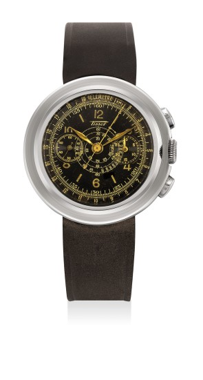 A fine and attractive stainless steel chronograph wristwatch with black multi-scale dial