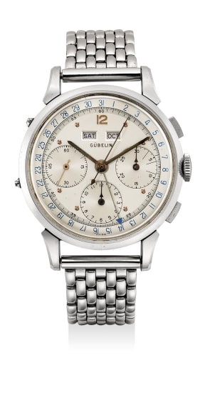 An exceptionally well preserved stainless steel triple calendar chronograph wristwatch with three-tone dial and bracelet