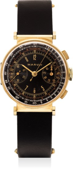 A very fine, unusual and extremely well-preserved yellow gold chronograph wristwatch with multi-scale black dial and hinged lugs