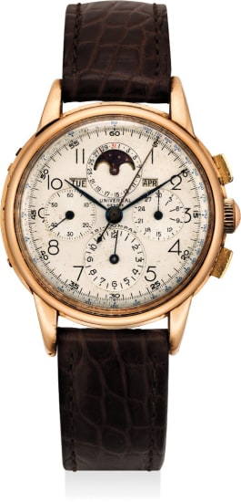 An attractive and rare pink gold triple calendar chronograph wristwatch with moonphase